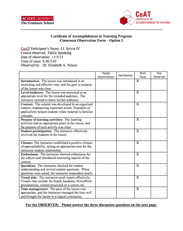 Teaching Evaluation
